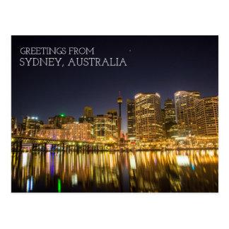 Postal Puerto querido de Sydney Australia en la noche