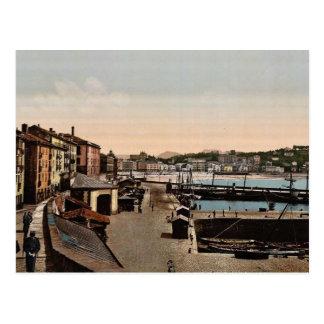 Postal Puerto, vintage Photochrom de San Sebastián,