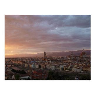 Postal Puesta del sol de Florencia, Italia