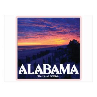 Postal Puesta del sol de la oscuridad de Alabama