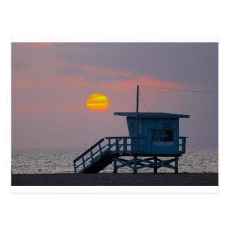 Postal Puesta del sol de la playa de Venecia