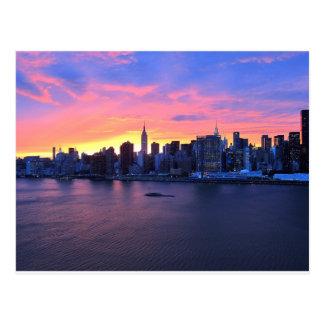 Postal Puesta del sol de New York City