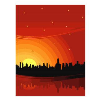 Postal Puesta del sol del horizonte de la ciudad