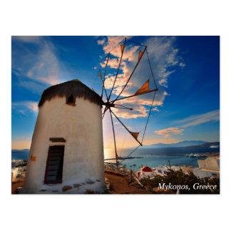 Postal Puesta del sol del molino de viento de Mykonos,
