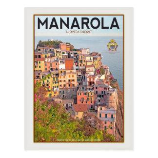 Postal Puesta del sol del viñedo de Manarola (blanca)