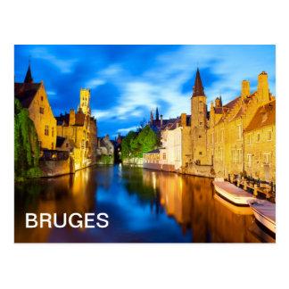 Postal Puesta del sol en Brujas. Bélgica