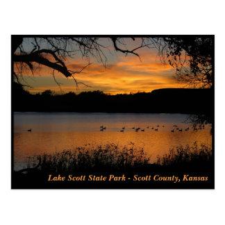 Postal Puesta del sol en el parque de estado de Scott del