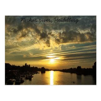 Postal Puesta del sol en el río Neckar, Heidelberg