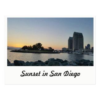 Postal - puesta del sol en San Diego
