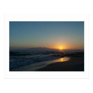 Postal Puesta del sol griega de la isla