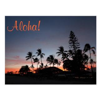 Postal - puesta del sol hawaiana