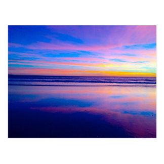 Postal Puesta del sol ideal azul, Santa Mónica