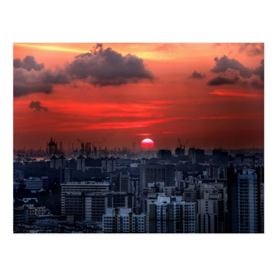 Postal Puesta del sol sobre el área de Chinatown en