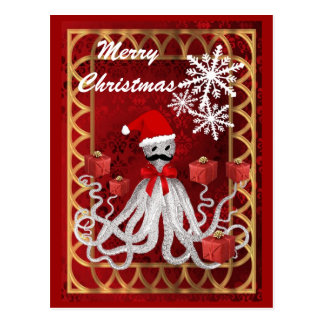 Postal Pulpo divertido del navidad del steampunk del
