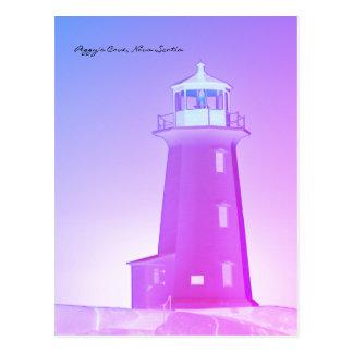 Postal Púrpura de Nueva Escocia de la ruta del faro de la