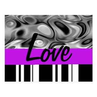Postal púrpura del amor del acento