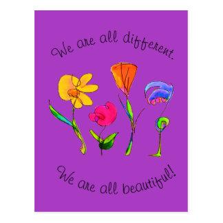 Postal Púrpura somos todos diversidad diversa y hermosa