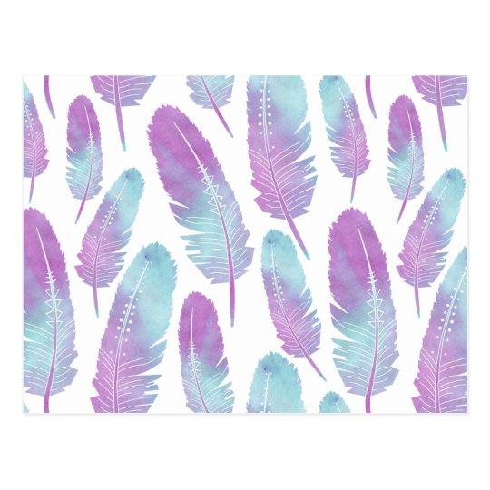 Postal Púrpura y azul de la acuarela de la pluma de Boho