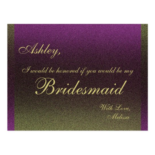 Postal ¿Púrpura y oro - usted será mi dama de honor?