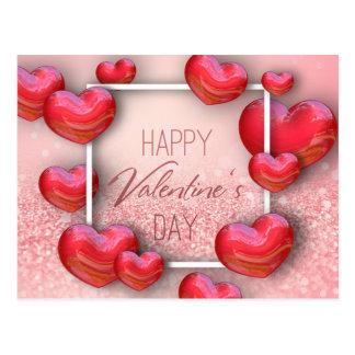 Postal Purpurina rojo de los corazones del el día de San