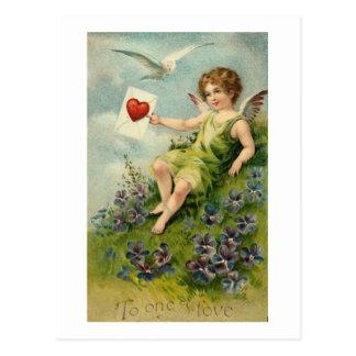 Postal Querube con la letra de amor y pájaro del amor