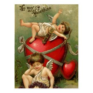 Postal Querubes y corazón dulces del vintage