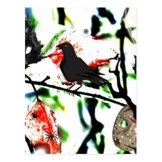 Postal Quoth el cuervo nunca más, collage de Halloween