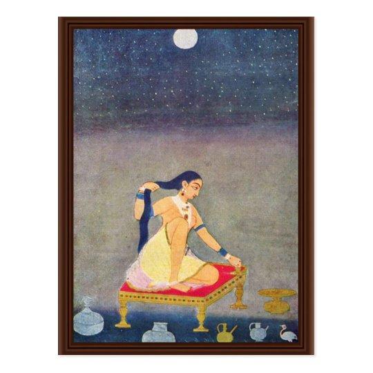 Postal Radha en la noche. Mughal que pinta Ca 1650Th por