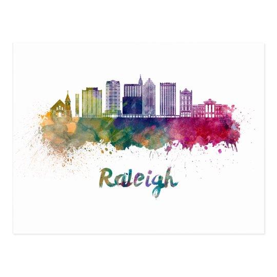 Postal Raleigh V2 skyline in watercolor