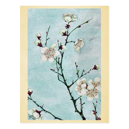 Postal Ramas del ciruelo con los flores Ukiyo-e.