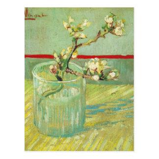 Postal Ramas del flor de la almendra en la bella arte de