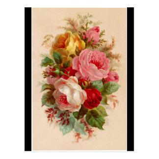 Postal - ramo color de rosa