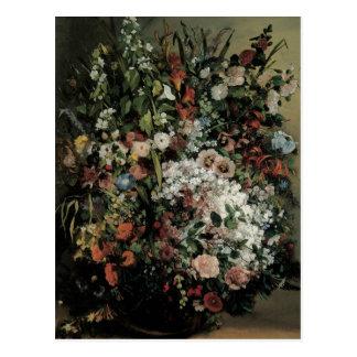 Postal Ramo de Courbet de flores en un florero