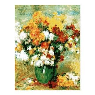 Postal Ramo de Pierre-Auguste Renoir de crisantemos