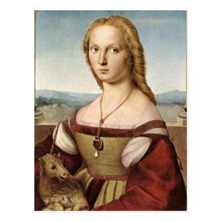 Postal Raphael Sanzio - señora With un unicornio