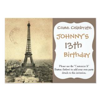 Postal rara del vintage con la torre Eiffel en Invitación 12,7 X 17,8 Cm