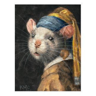 """Postal """"rata con la pintura de un pendiente de"""