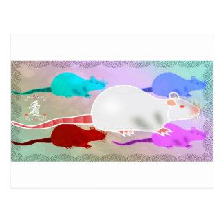 Postal Ratas Trippy del mascota del arco iris del hippy