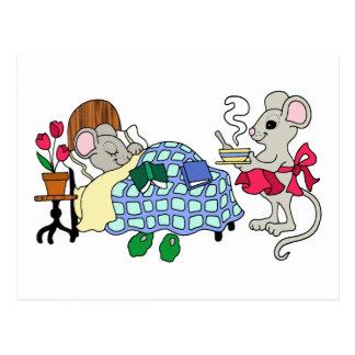 Postal Ratón de la mamá que cuida para el niño enfermo