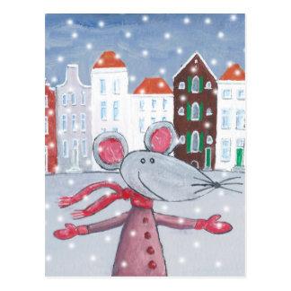 Postal Ratón de la nieve