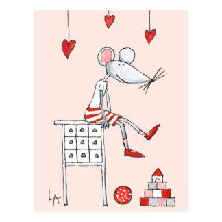 Postal Ratón del amor con los corazones
