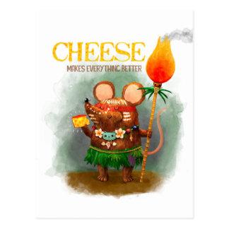 Postal Ratón y queso de la cueva