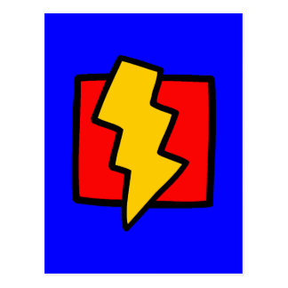 Postal Rayo azul y amarillo rojo