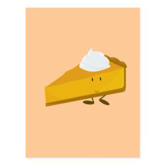 Postal Rebanada sonriente de pastel de calabaza