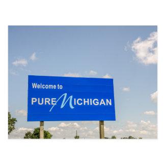 Postal Recepción a la muestra pura del azul de Michigan
