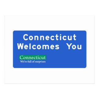 Postal Recepción señal de tráfico de Connecticut - los