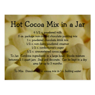 Postal Receta caliente de la mezcla del cacao