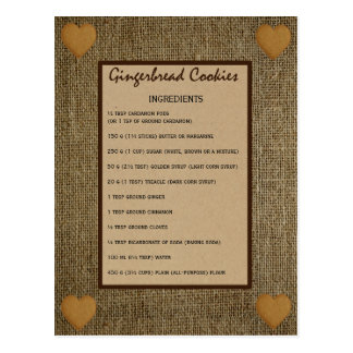 Postal Receta de las galletas del pan de jengibre -