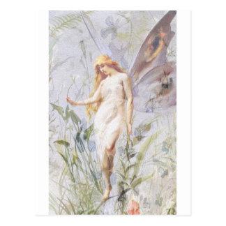 Postal Reclinación - ángel con Lillies