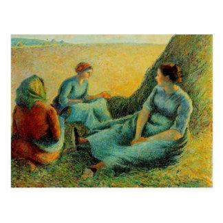 Postal Reclinación de los Haymakers de Camilo Pissarro-